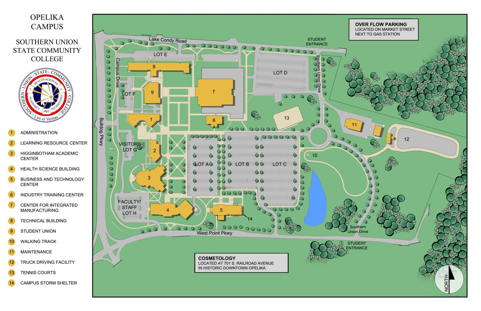 southern union opelika campus map Campus Maps Parking southern union opelika campus map